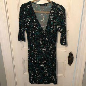 Black patterned wrap dress